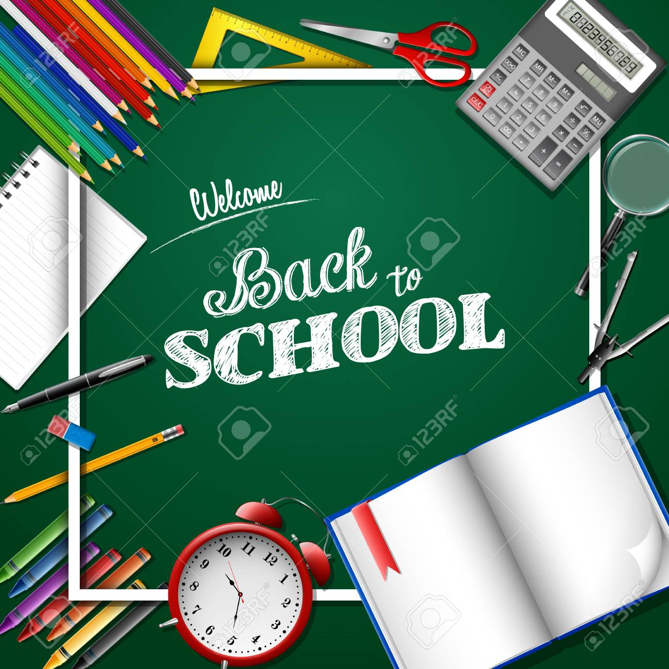 Welcome Back To School Poster Template Vector Illustration Royalty ...
