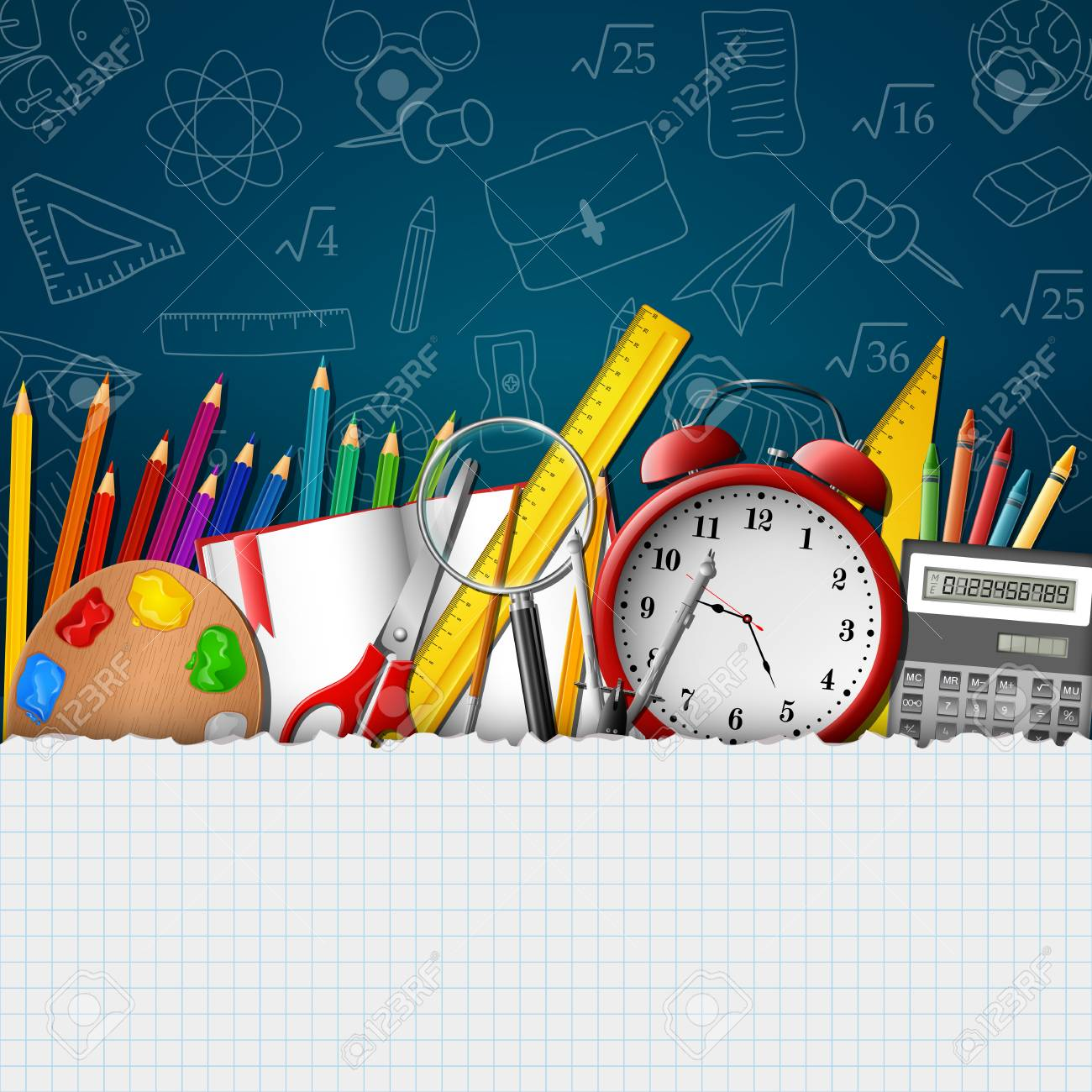 School background with school supplies and empty paper - 100814552