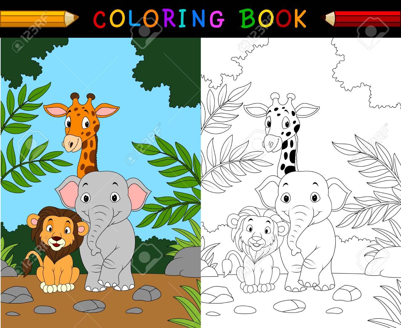 Cartoon Safari Animal Coloring Book Lizenzfrei Nutzbare ...