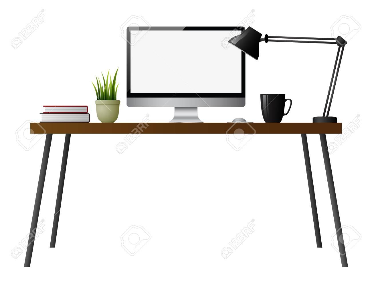 - Computer Desk On A White Background Lizenzfrei Nutzbare