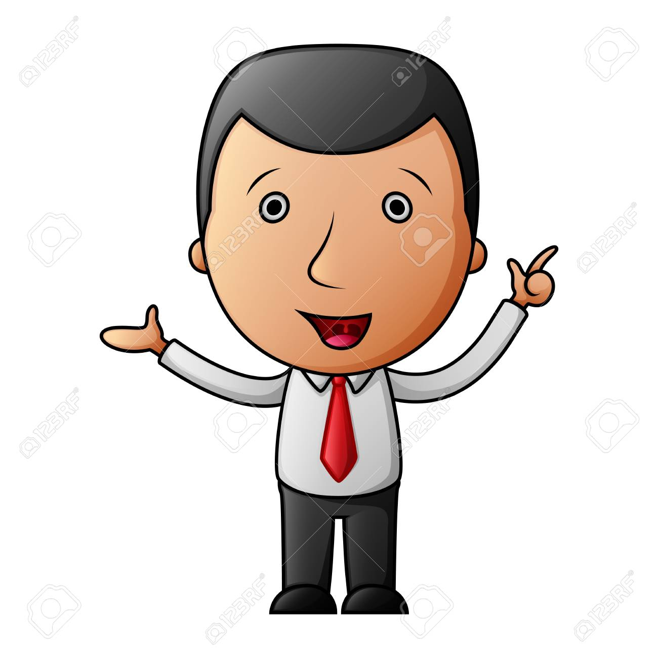 Cartoon businessman pointing his finger up - 102801121