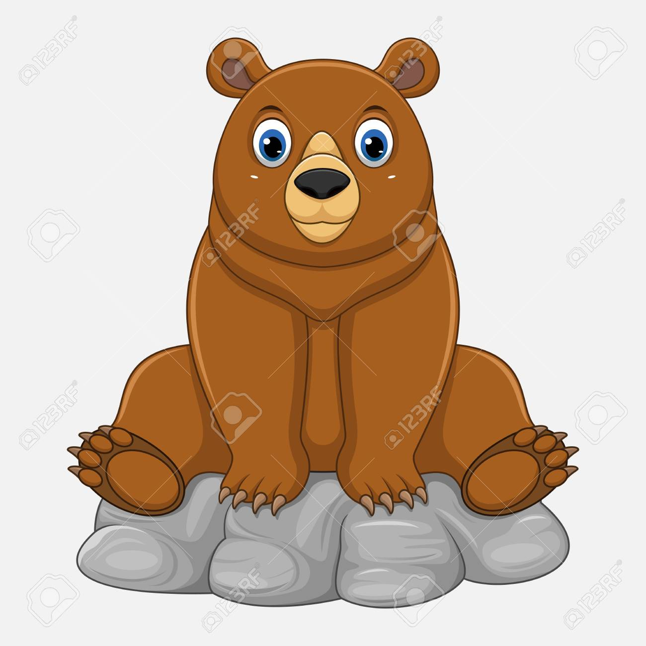 Cute Baby Bear Cartoon Sitting On Rock Stock Photo Picture And Royalty Free Image Image 102802036