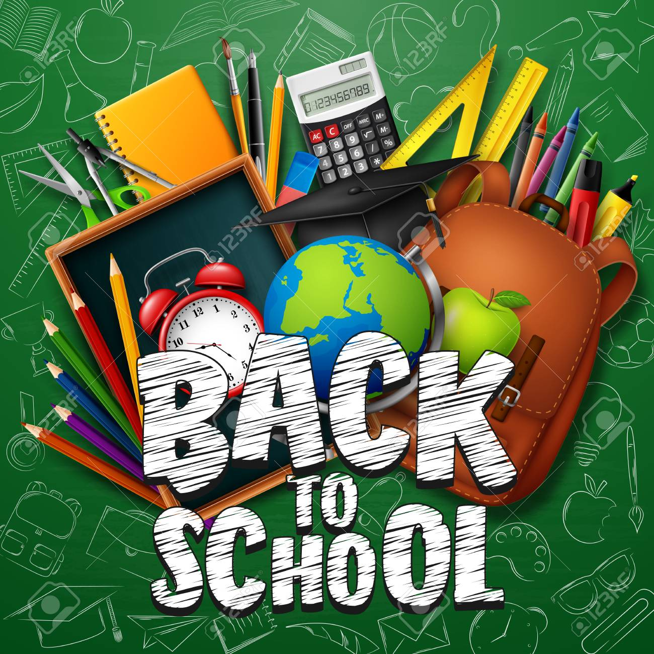 Vector Illustration Of Back To School Background With Stationery ...