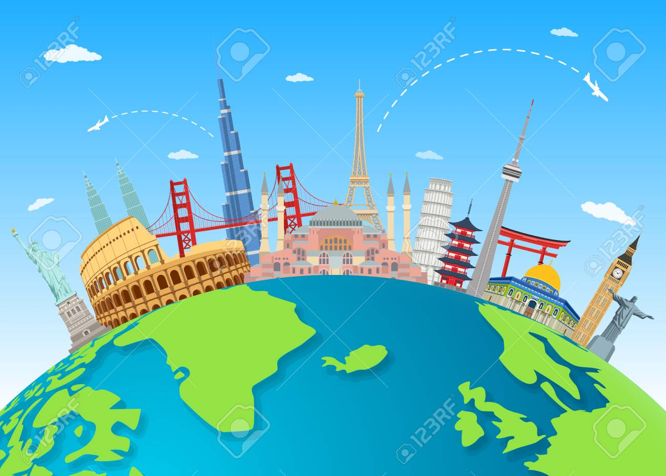 Vector illustration of Explore the world with famous architectural landmarks - 110073072