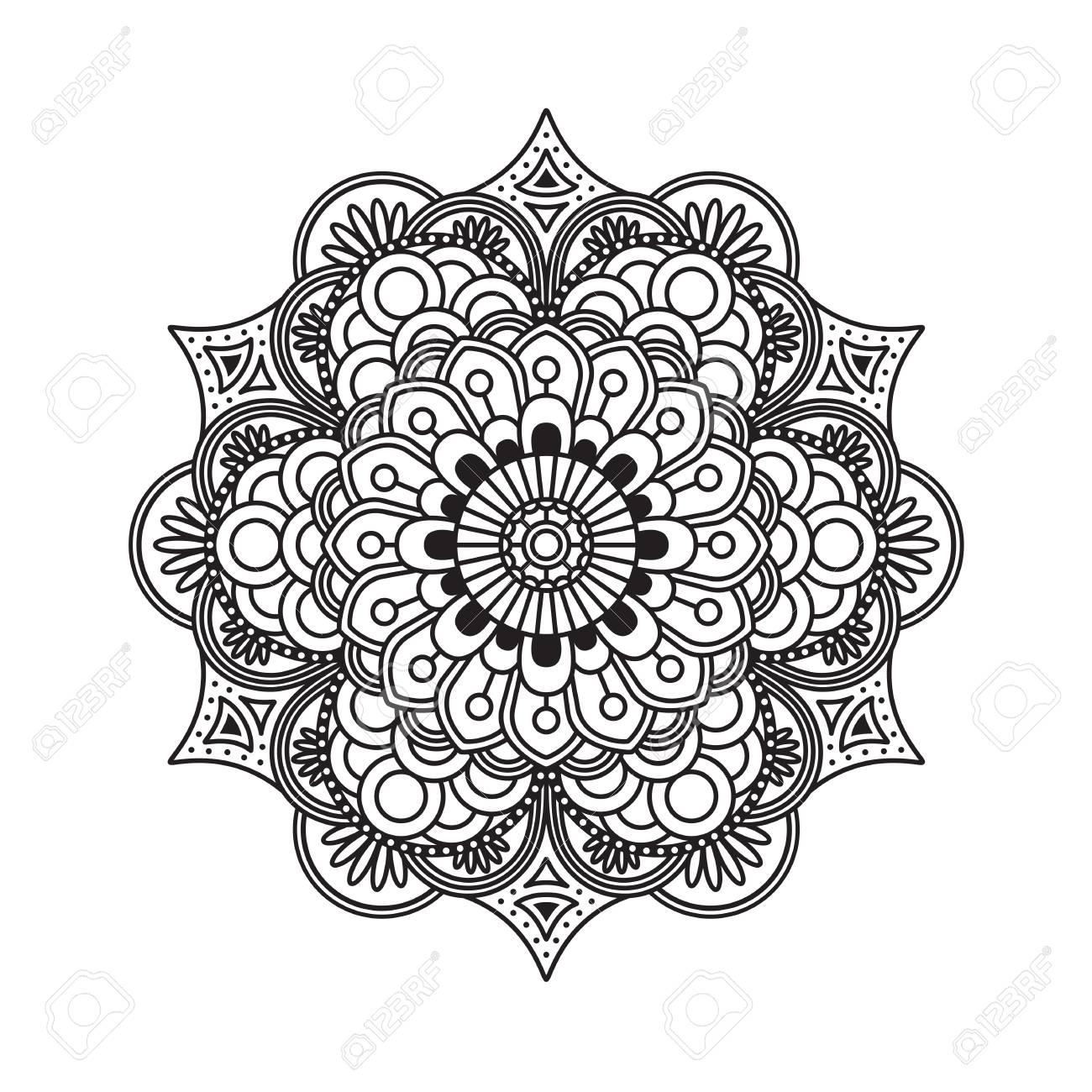 Outline rangoli icon isolated on white background stock photo 112738369