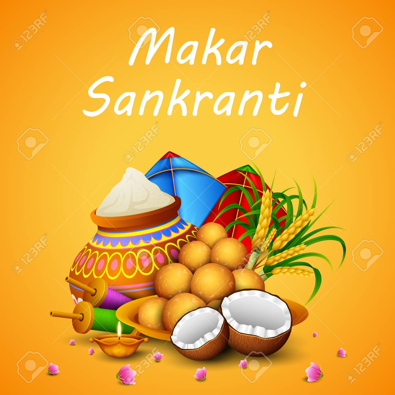 Happy Makar Sankranti Greeting Card Stock Photo, Picture And Royalty Free  Image. Image 112628233.