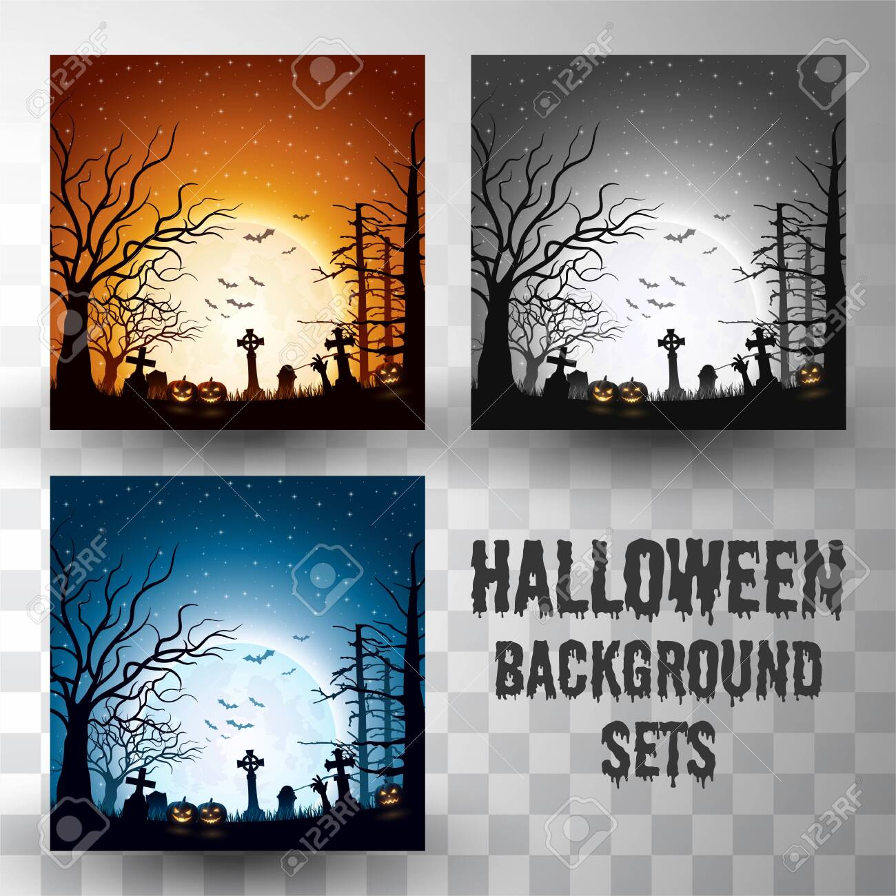 Halloween silhouette background sets with different colour scene - 129794128