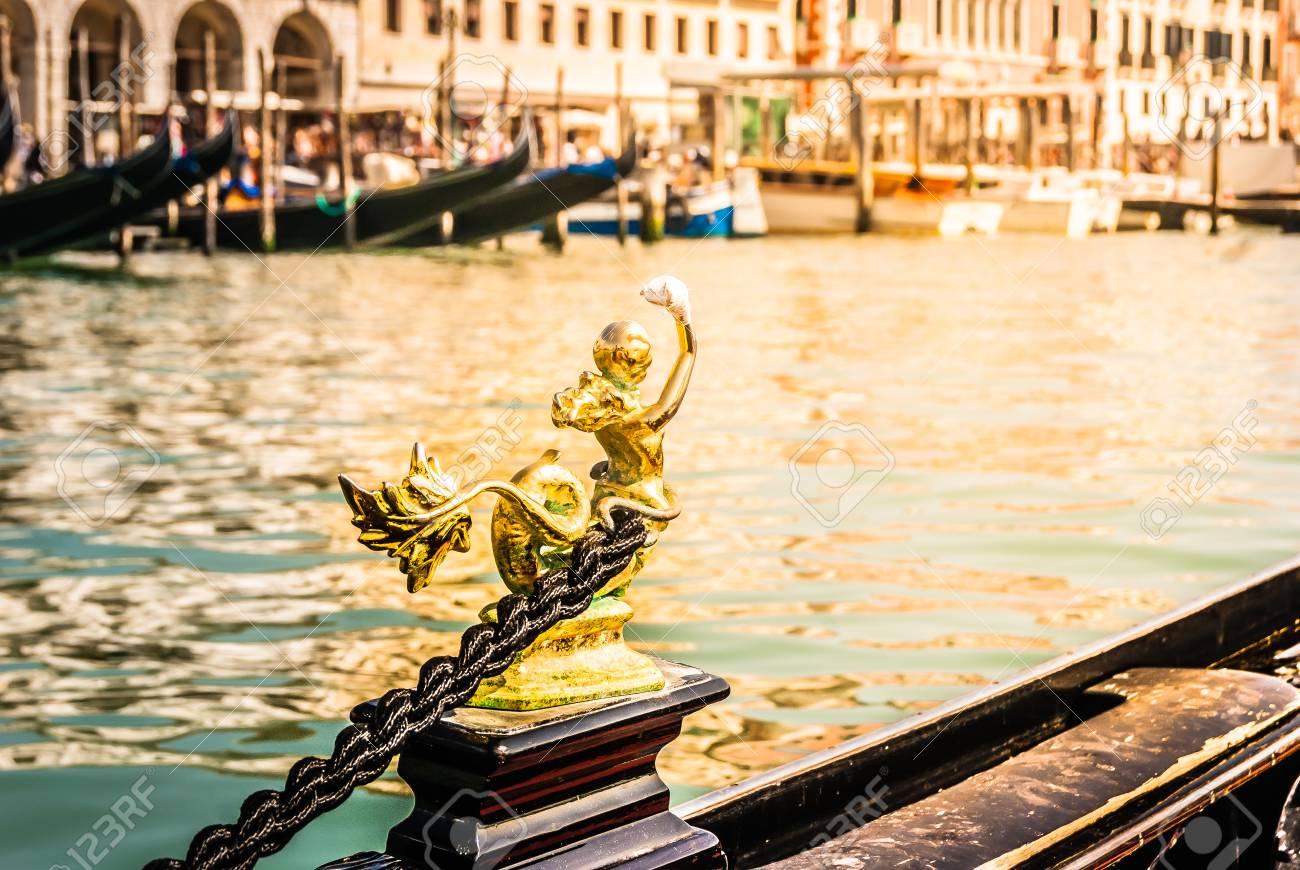 Closeup details of gondola in Venice city, Italy. - 67118253