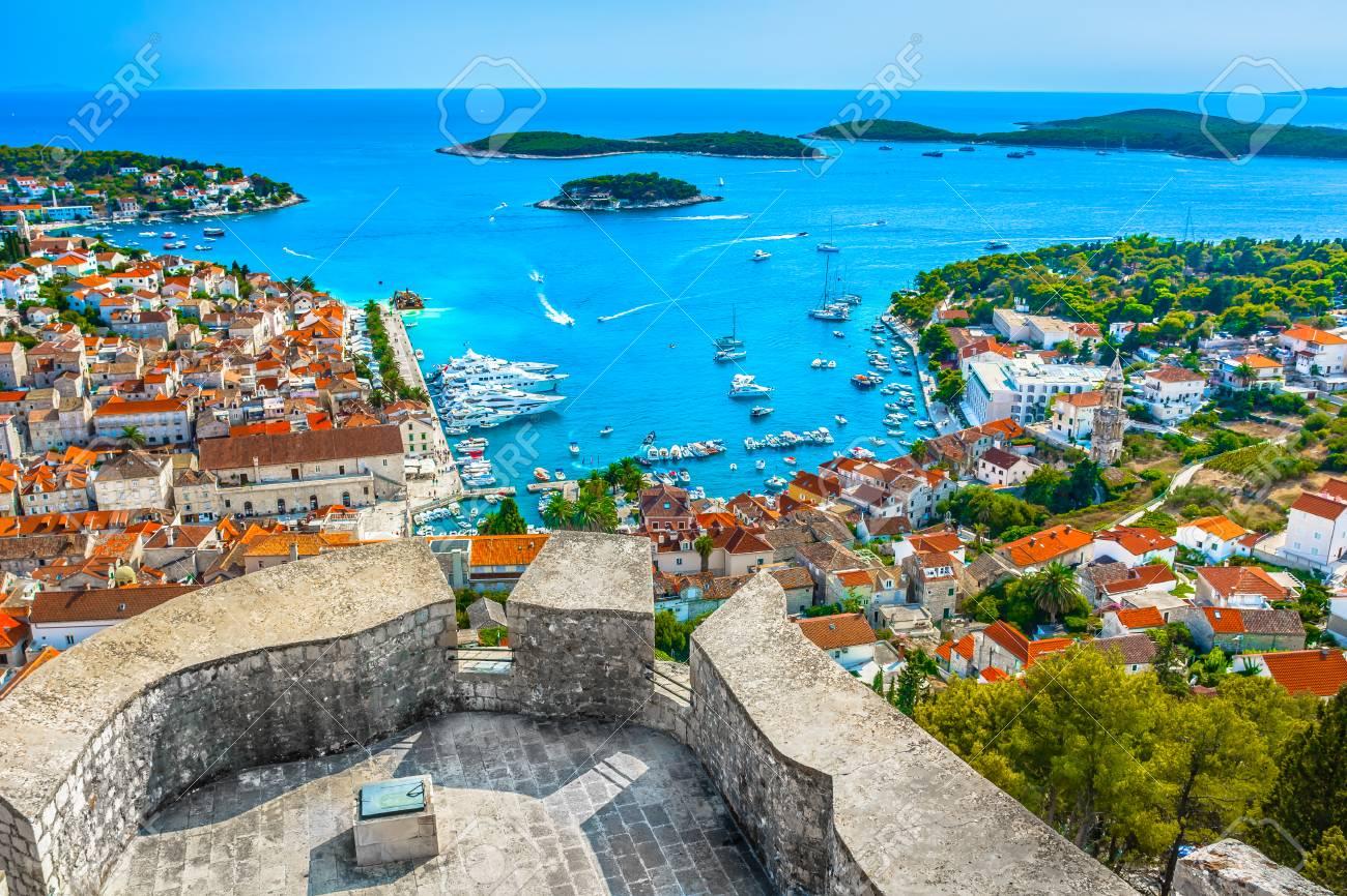 Aerial landscape view over Hvar town in Croatia, Europe Mediterranean. - 88590981