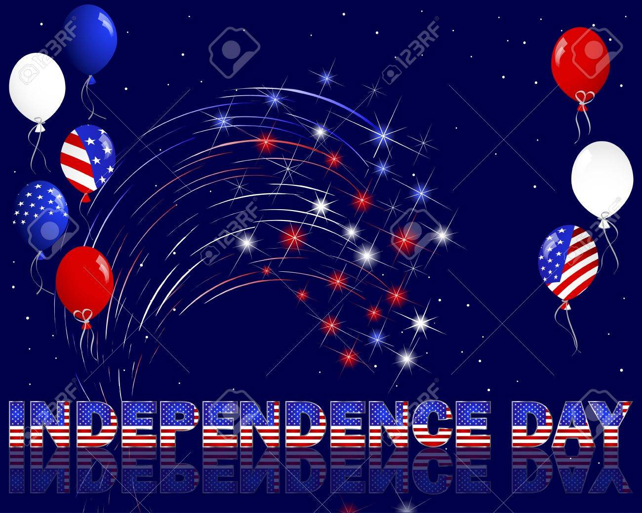 Independence Day  Celebratory background with a beautiful text, fireworks and balloons  10 EPS  Vector illustration Stock Vector - 14169605