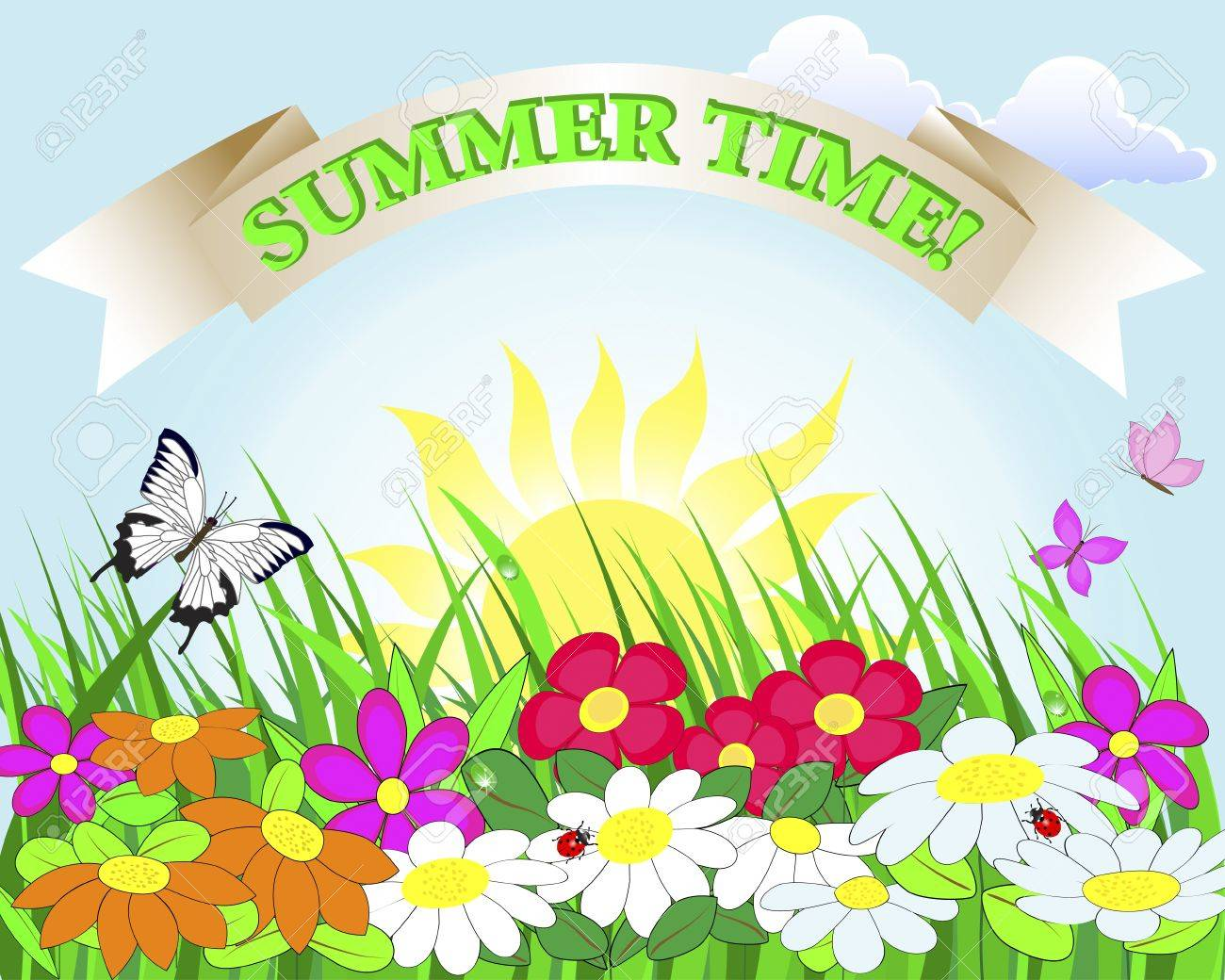 Summer banner  Flower lawn with ladybugs and butterflies   Illustration Stock Vector - 14169449