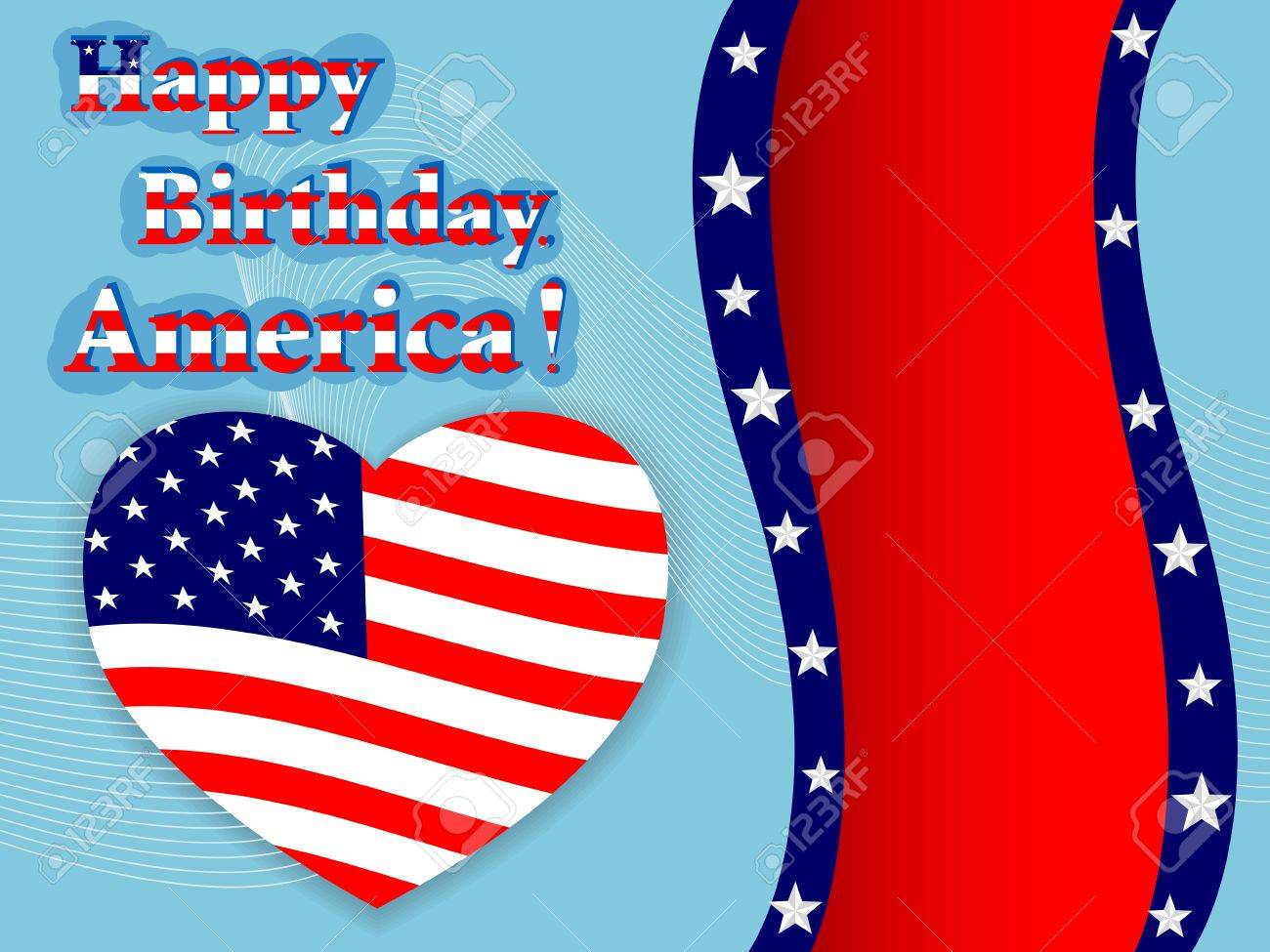 Independence Day American Flag Heart With Banner Royalty Free ...