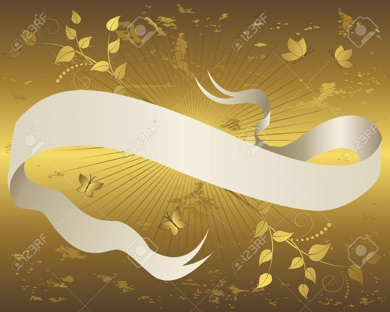 Vintage paper scroll banner with floral ornament and butterflies on grunge gold background  Vector illustration Stock Vector - 14169800