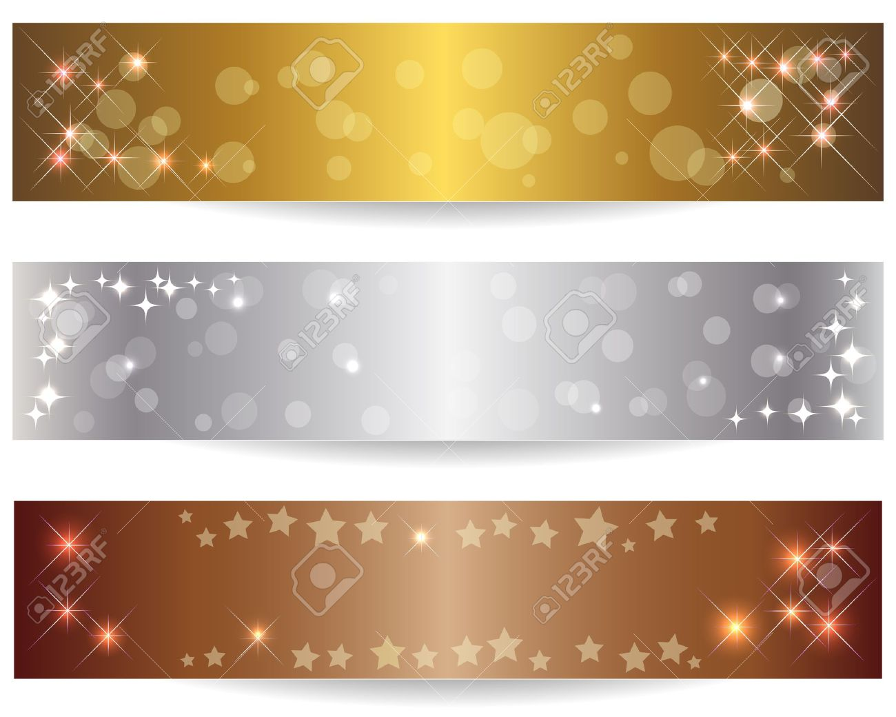 Set of three abstract banners with shining stars Stock Vector - 14239191
