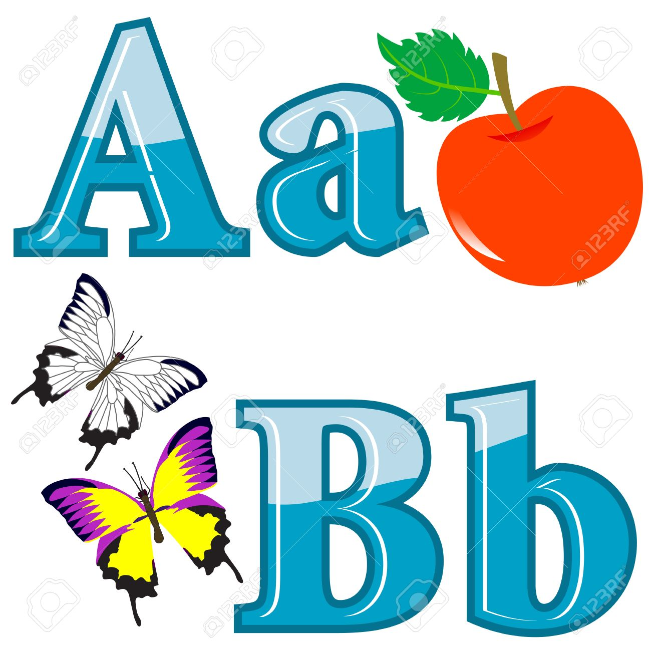 The English alphabet with funny pictures. letters A; B. Vector.