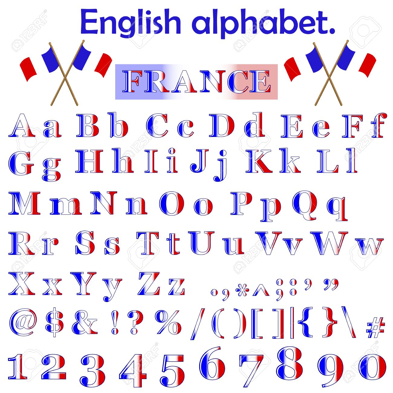 France Flag Alphabet With Letters Punctuation Marks Numbers