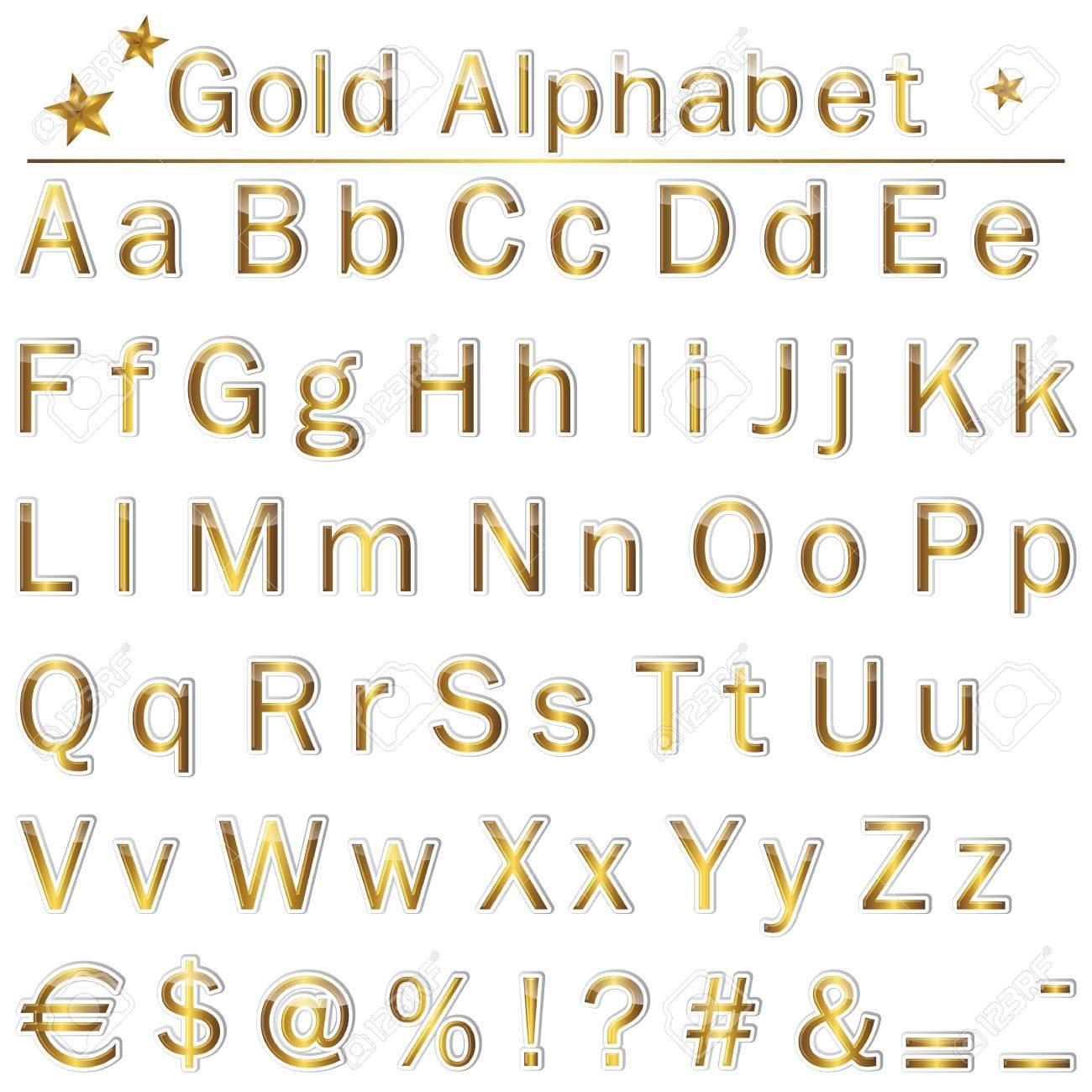 Préférence L'alphabet En Anglais Or, Signes De Ponctuation Et Les Symboles  EL43