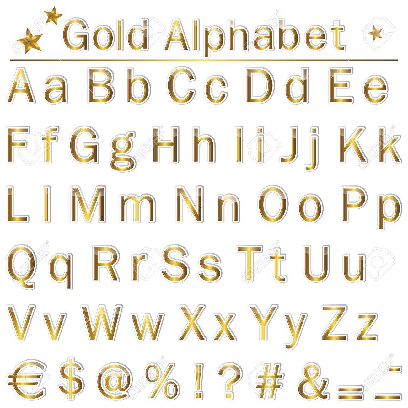 The english golden alphabet punctuation marks and symbols royalty the english golden alphabet punctuation marks and symbols stock vector 14322729 buycottarizona Choice Image