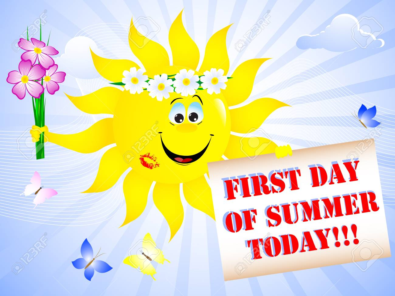first day of summer sun with lip print and placard royalty free rh 123rf com first day of summer clip art transparent background first day of summer clip art images