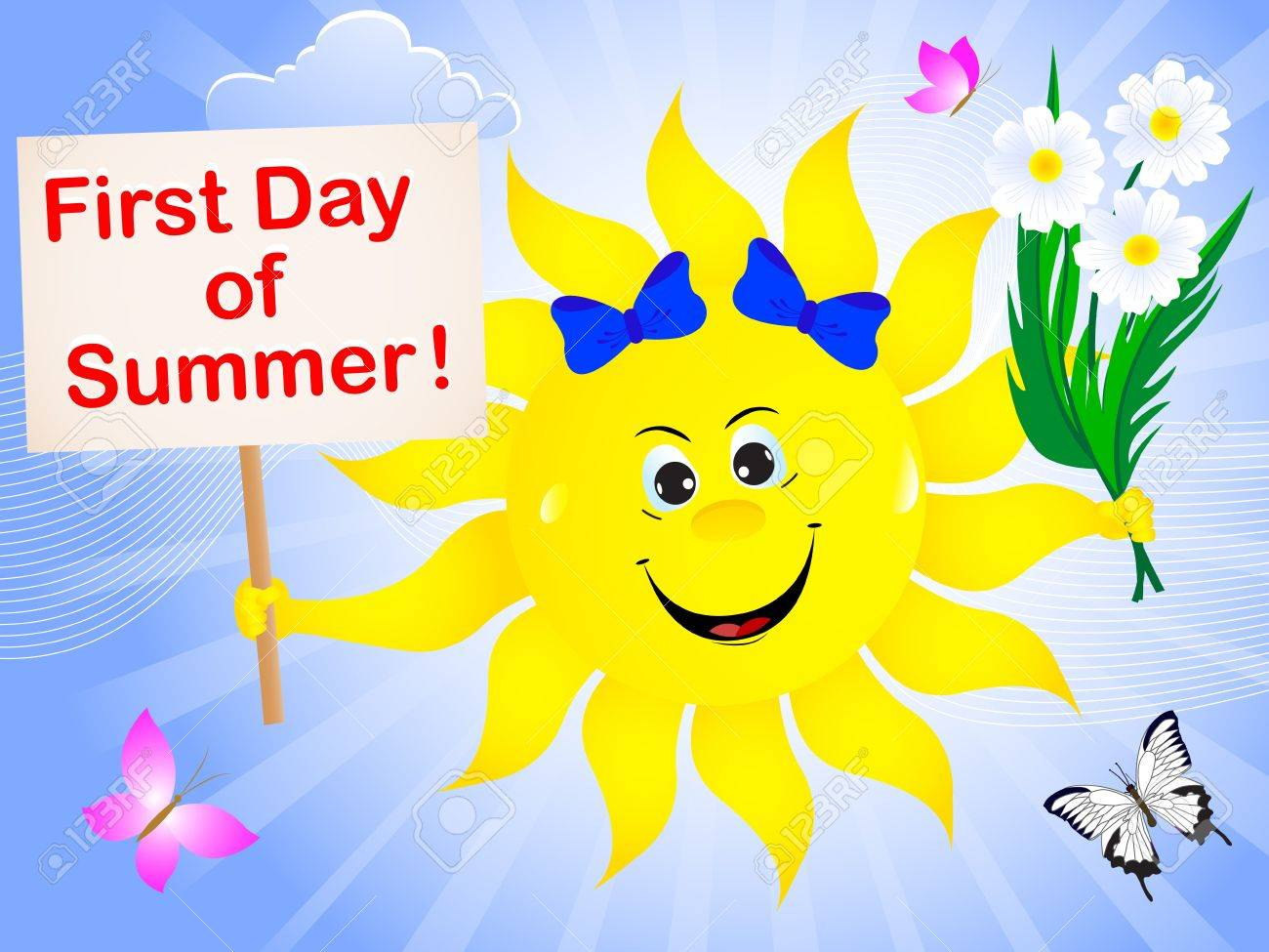 first day of summer sun with placard and bouquet of camomiles rh 123rf com first day of summer clip art free first day of summer clipart free
