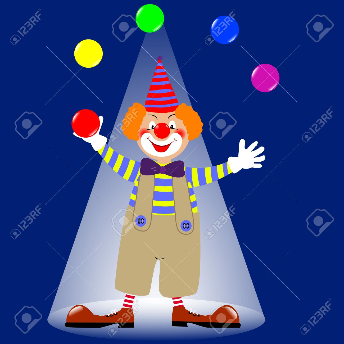 A clown juggling colorful balls Stock Vector - 14437909