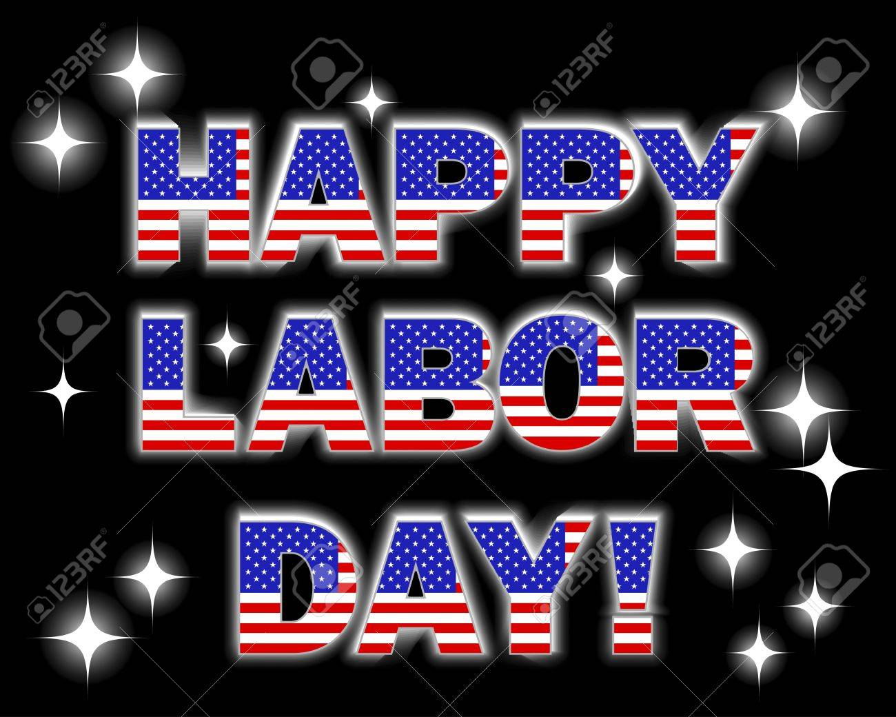 Labor Day. Celebratory background with a glowing text and, fireworks. Stock Vector - 14572720