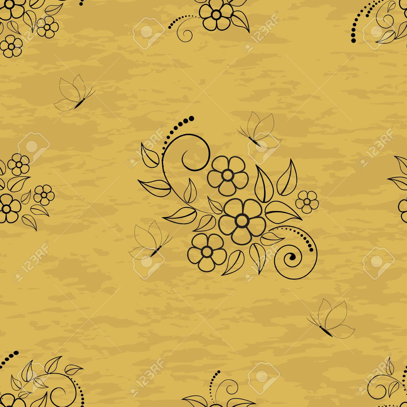 Seamless pattern with flowers and butterflies on grunge background. Stock Vector - 14718906