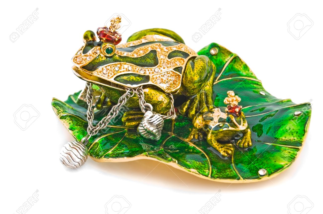 Frog Jewelry Box With Silver Bracelet On White Stock Photo