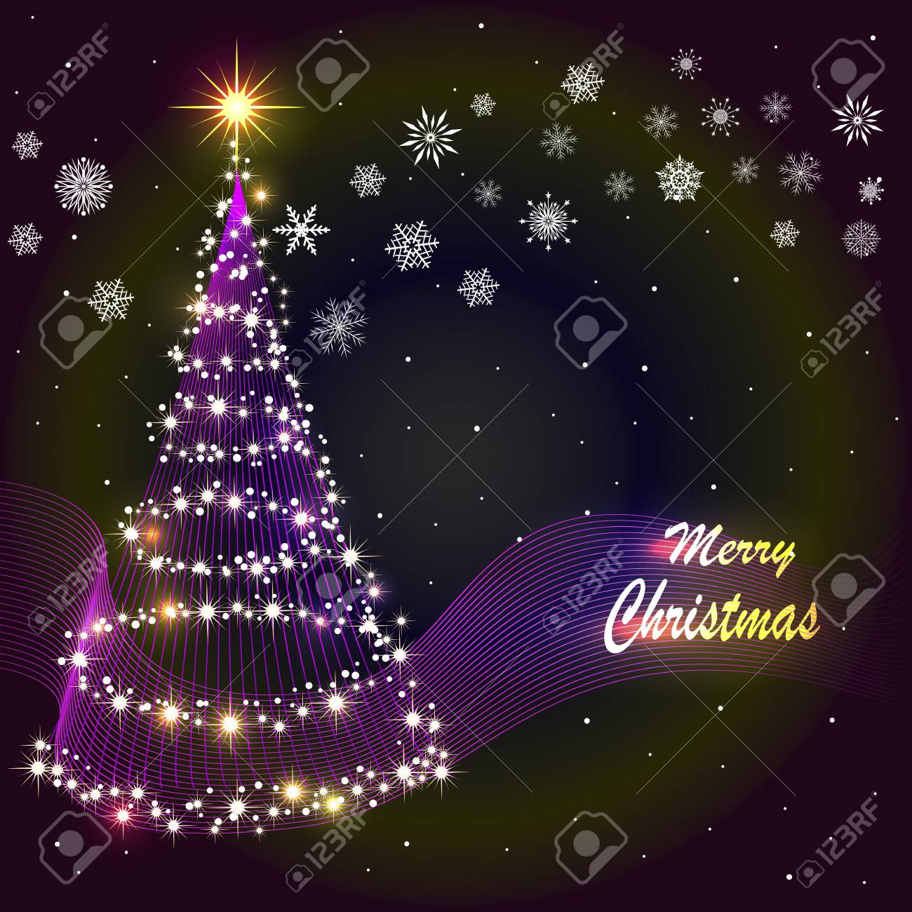 Abstract background with stylized Christmas tree and snowflakes. Eps10. Vector illustration. Stock Vector - 15934143