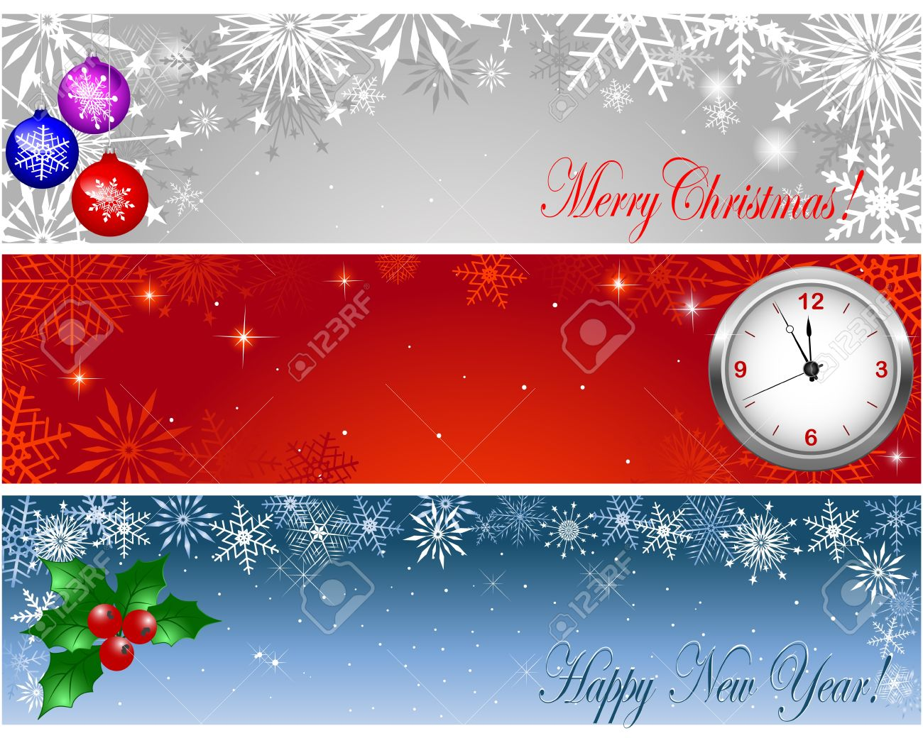 christmas and new year banners with clock holly and balls stock vector 15934130