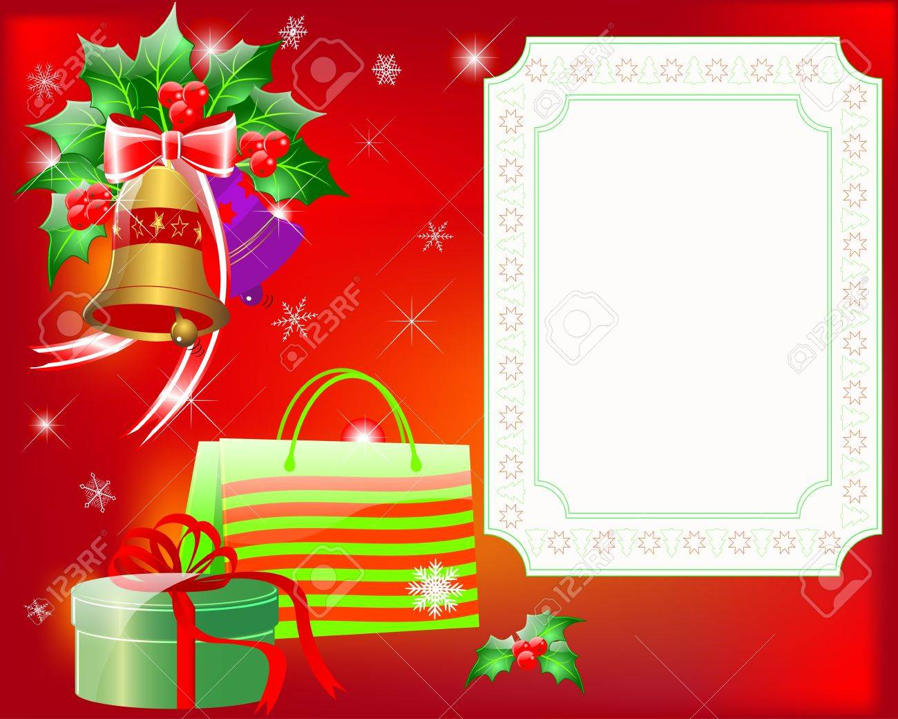 Christmas greeting card with gifts and place for your text. 10EPS. Vector illustration. Stock Vector - 15934139