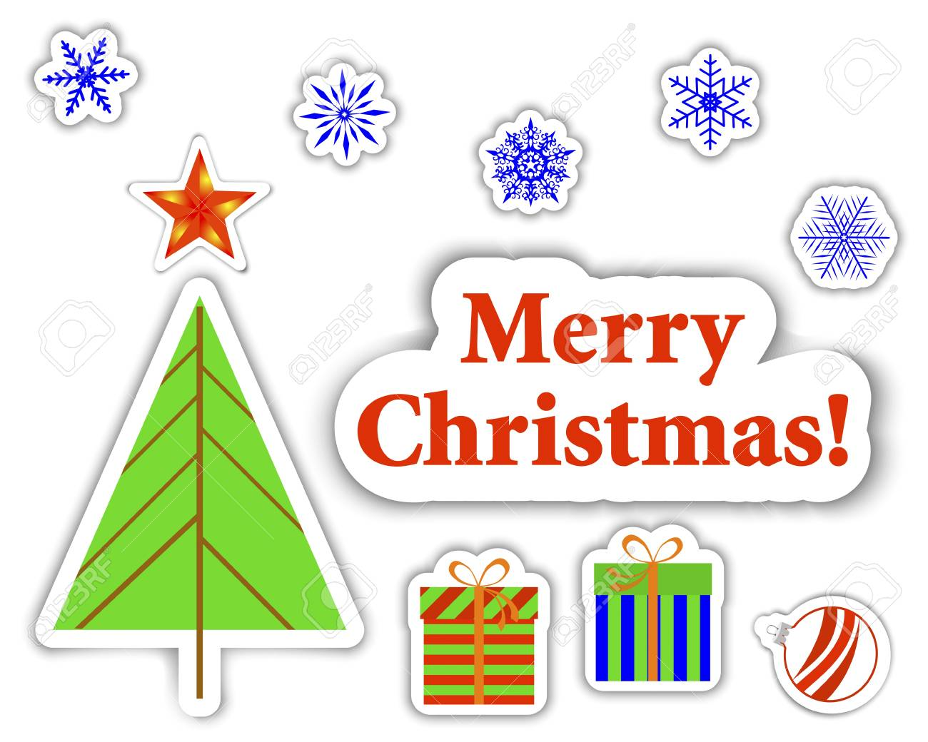 Set of Christmas stickers with banner, christmas tree and gifts. Stock Vector - 16358270