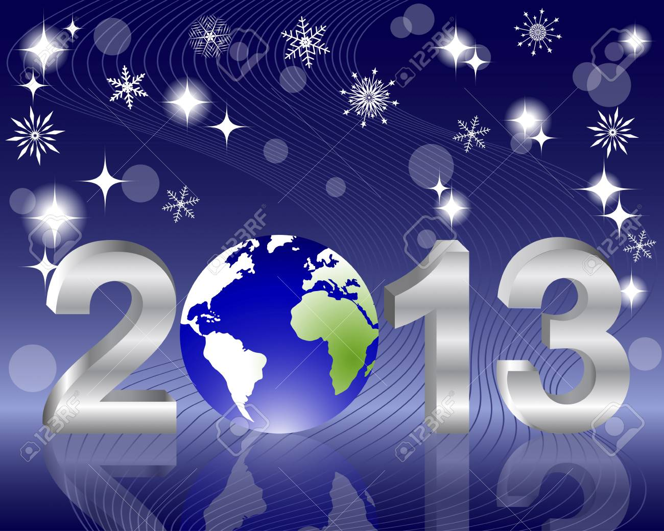 3d 2013 New Year with globe and reflection on the holiday background. Vector illustration. Stock Vector - 16537894
