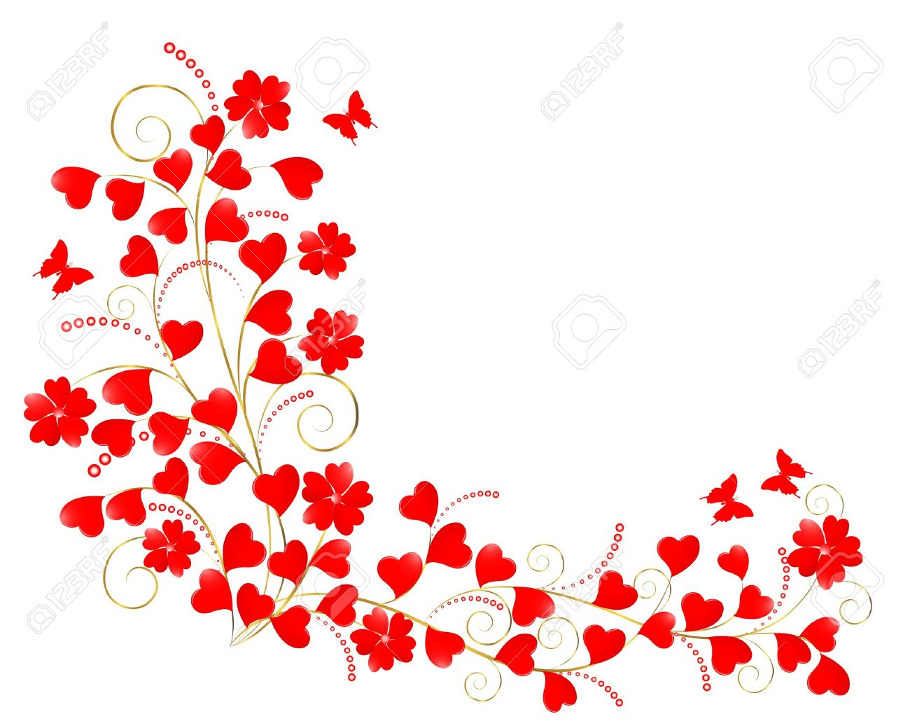 Valentine floral background with a butterflies.  illustration. Stock Vector - 16573771