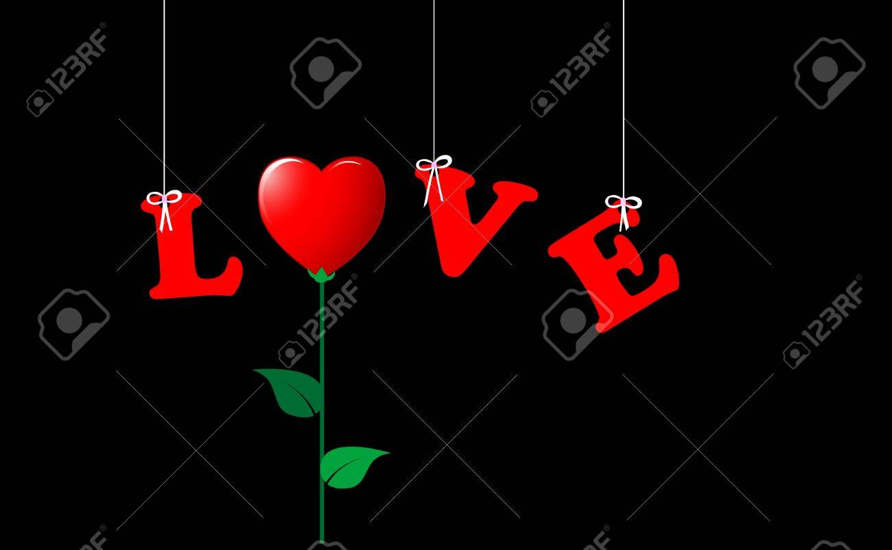 The word LOVE, hanging and the O replaced by a flower-heart. . Stock Vector - 16577485