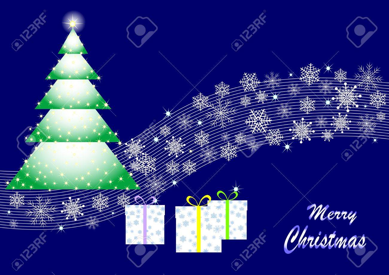 Christmas tree from stars, gifts and a wave with snowflakes. vector. Stock Vector - 16760716