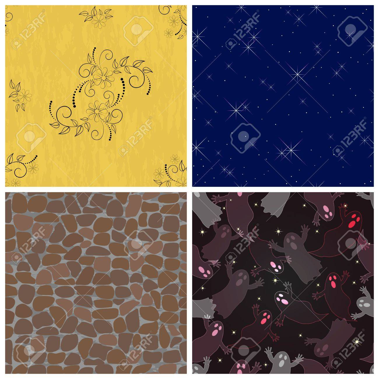 Set seamless pattern with flowers, halloween ghosts, stones, stars and lights Stock Vector - 16833583