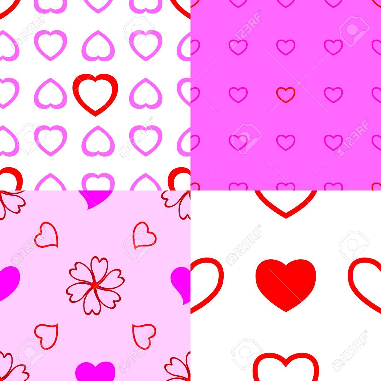 Set of heart seamless pattern Stock Vector - 16833542