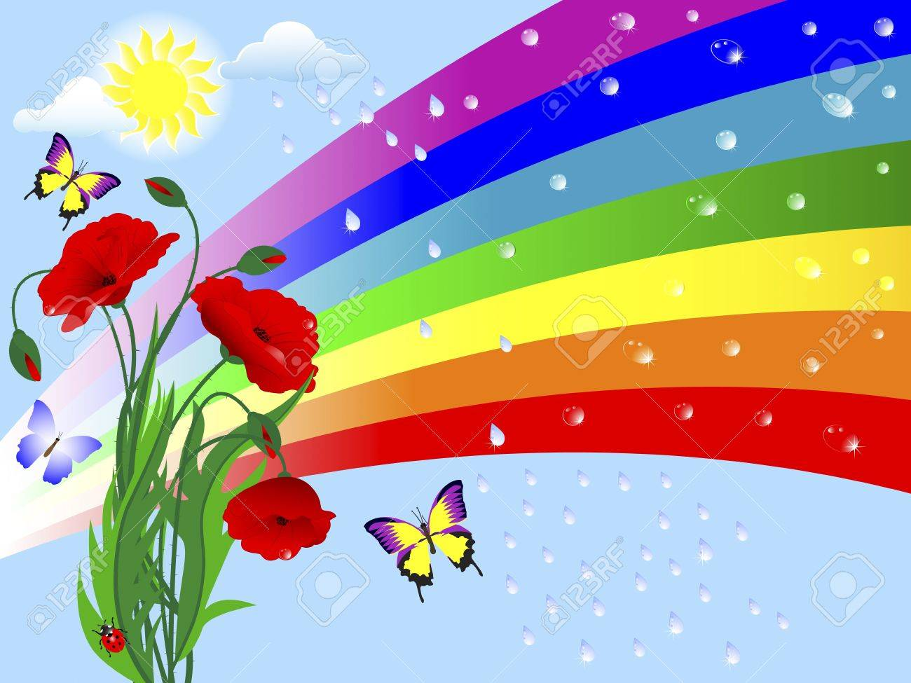 Nature background with a rainbow, poppies and drops. Stock Vector - 17233170