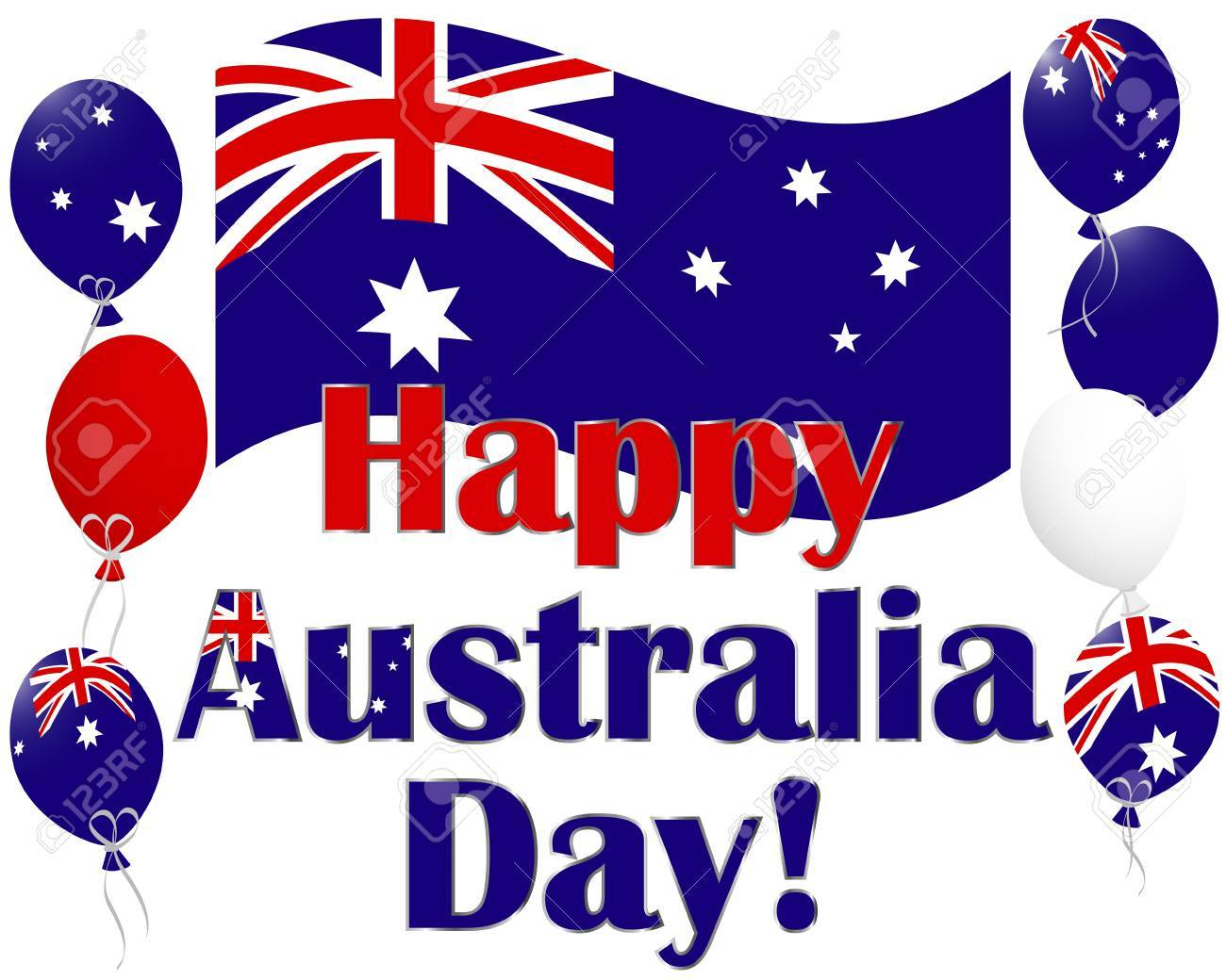 Australia Day Background With Flags And Australia Flag Balloons ...