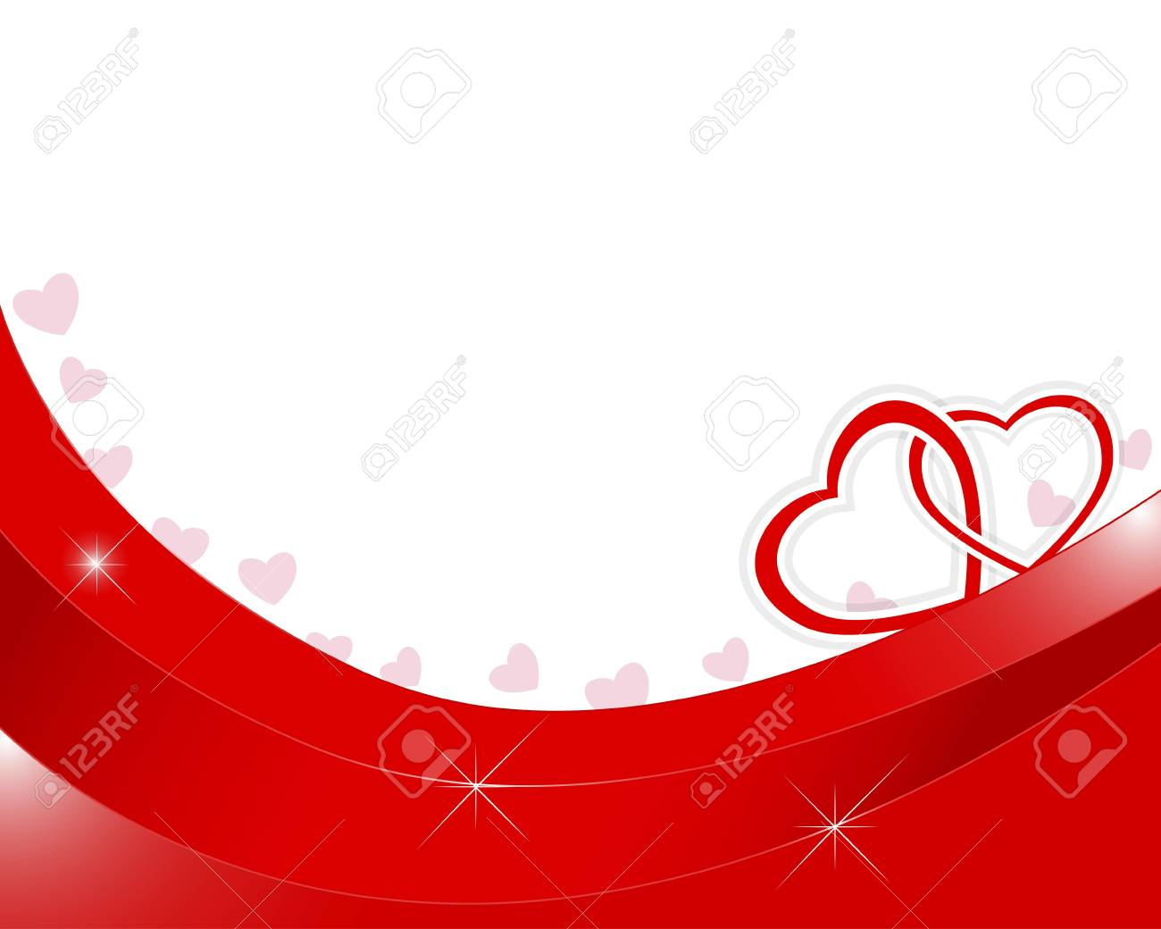 Valentines day background with two paper hearts entwined. Stock Vector - 17533426