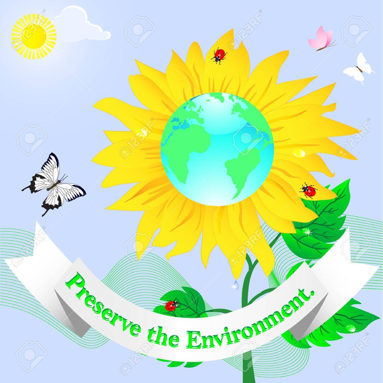 World Environment Day  Sunflower with banner  Vector Stock Vector - 17533534