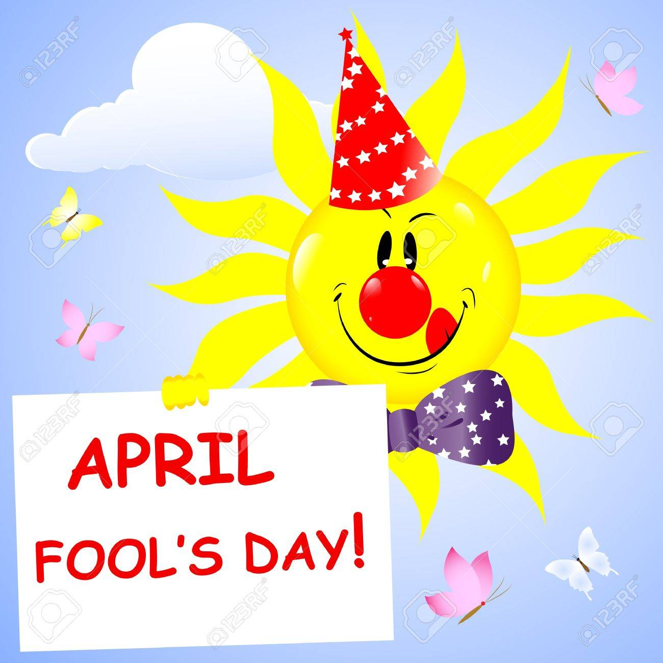 Fools day background. Sun with a red nose and fool's cap. Vector illustration. Stock Vector - 17533446