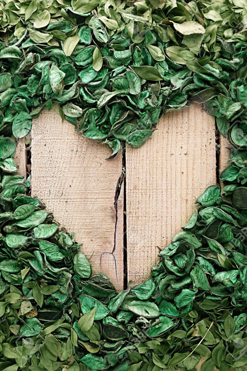 vertical heart frame made of leaves on wooden background Stock Photo - 19602078