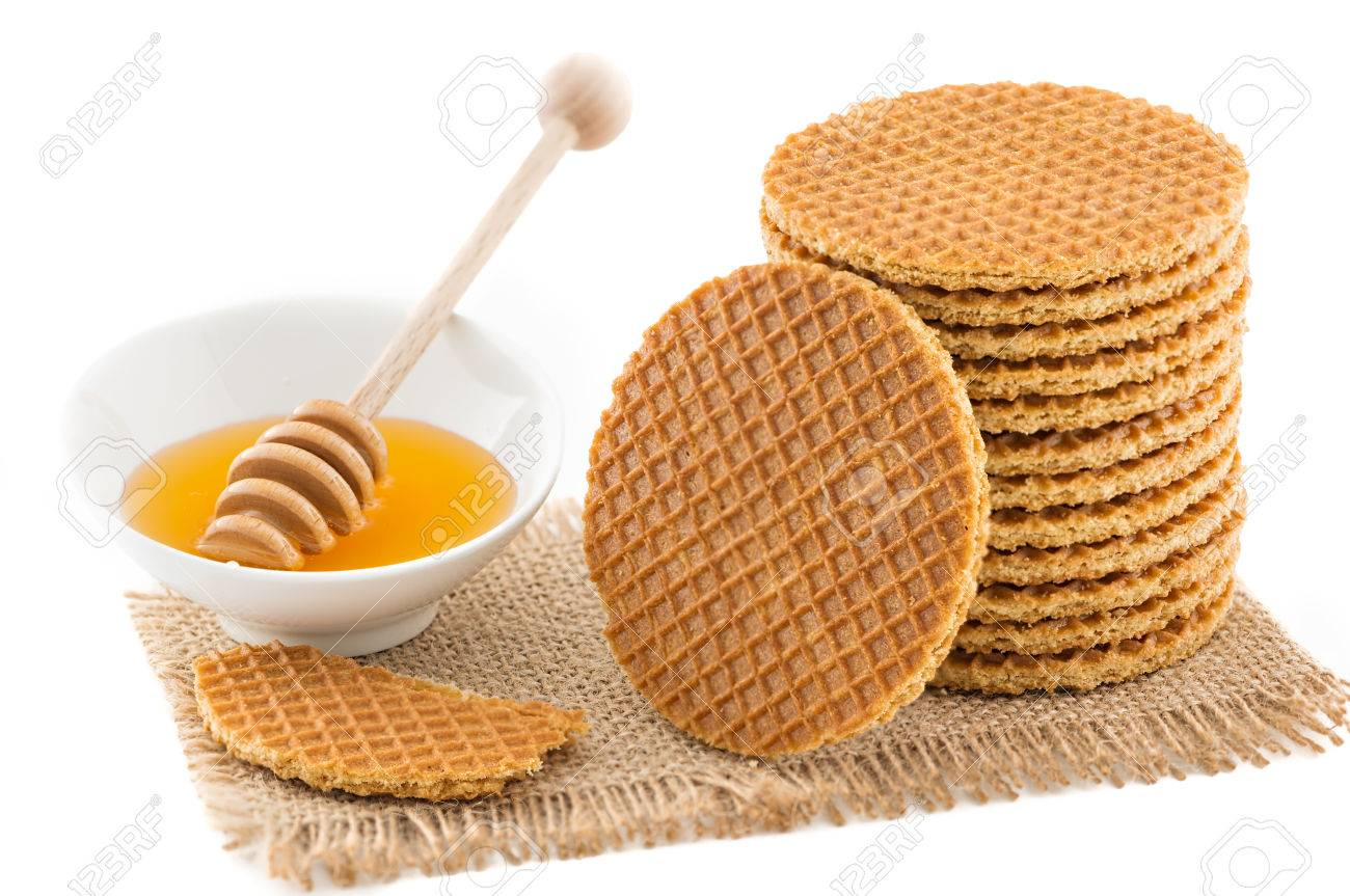 Dutch Waffles With Honey Isolated On White Background Stock Photo Picture And Royalty Free Image Image 32255361