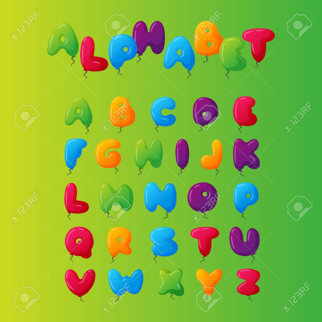 English balloon colorful alphabet on green background holidays english balloon colorful alphabet on green background holidays and education ozone type greeting helium m4hsunfo