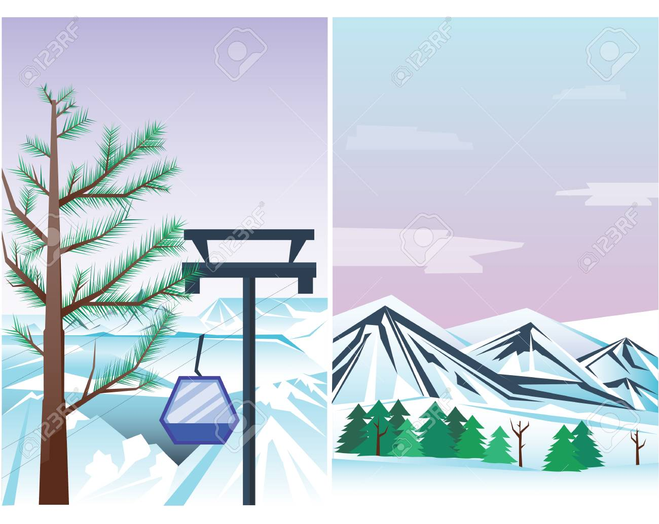 Winter Landscape With A Christmas Tree Mountain Frozen Wallpaper