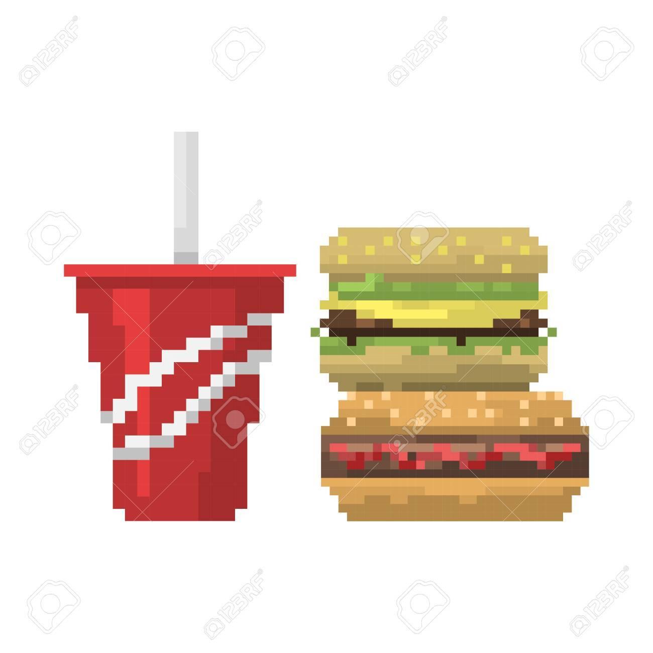 Pixel Art Fast Food Hamburger Et Cola Icônes Vecteur