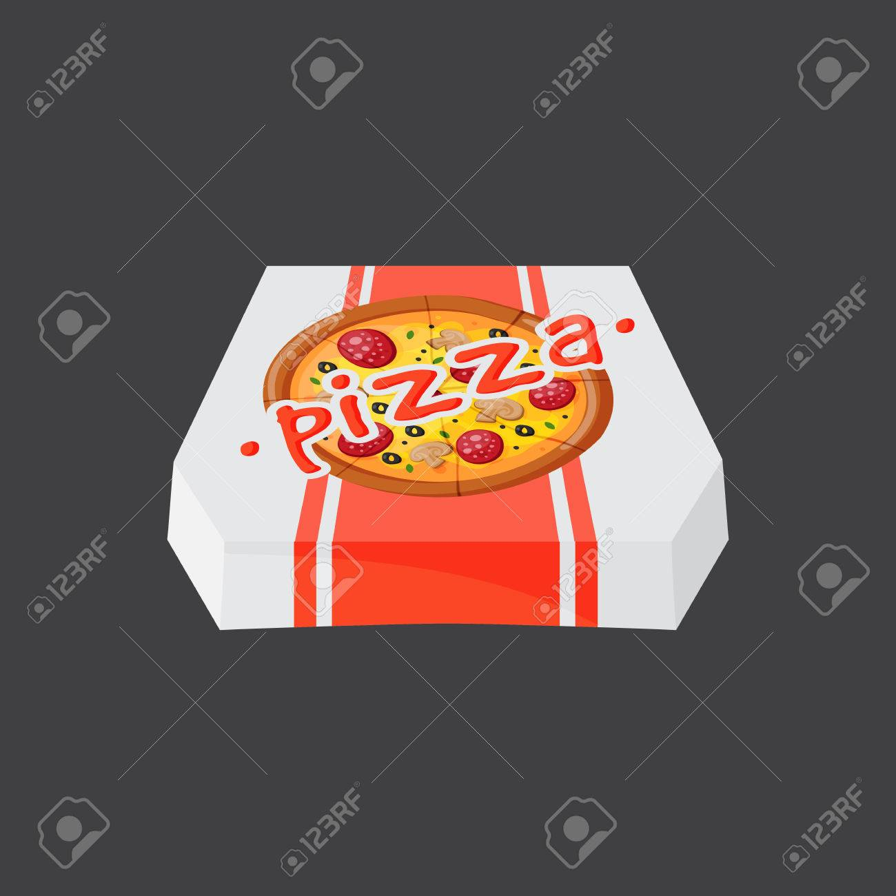 Hot Fresh Pizza Box Icon Vector Illustration Food And Drink