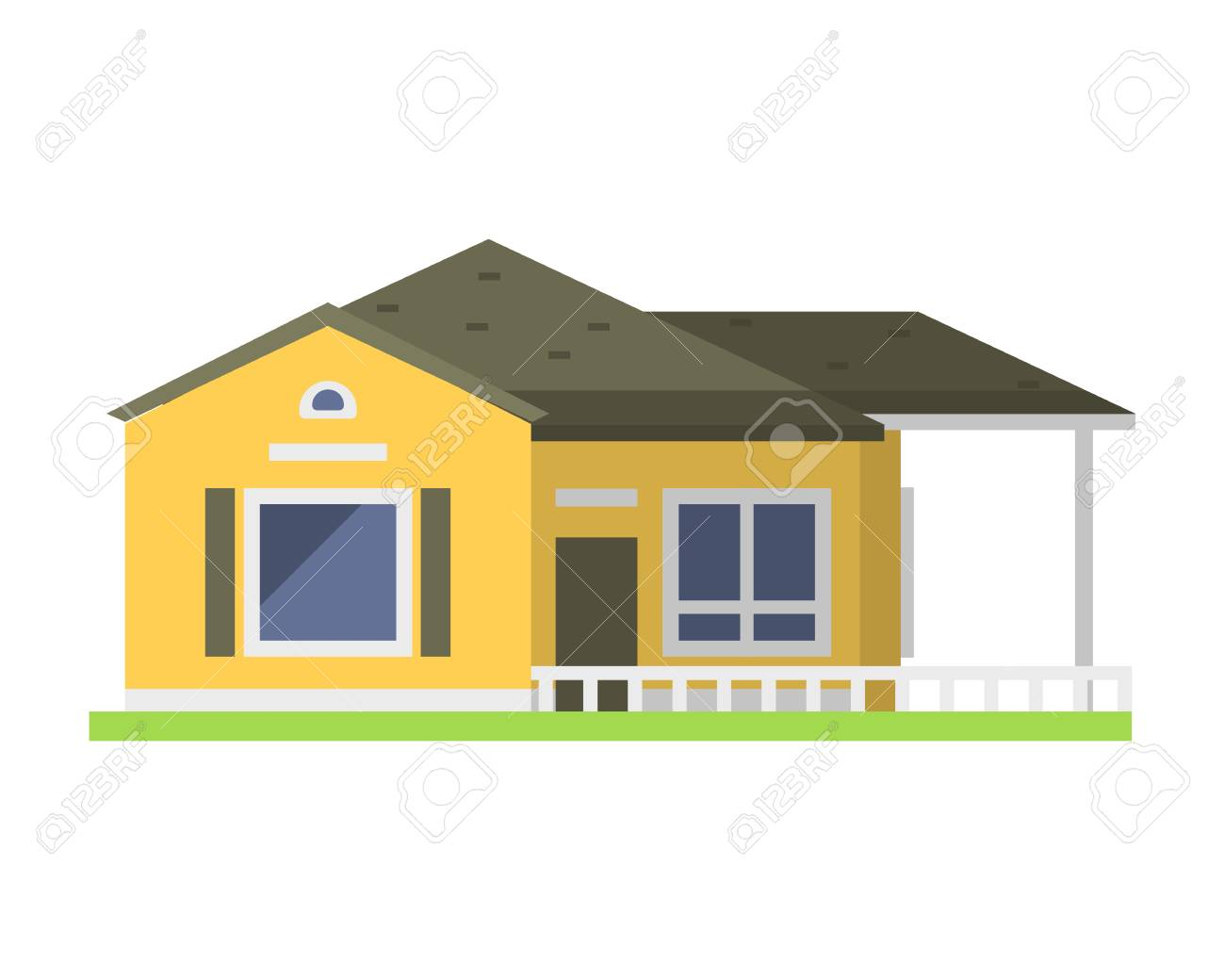 Cute Colorful Flat Style House Village Symbol Real Estate Cottage ...